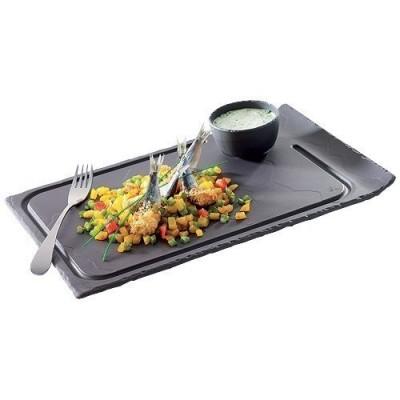 Assiette rectangulaire imitation basalt , 1 bord relevé.