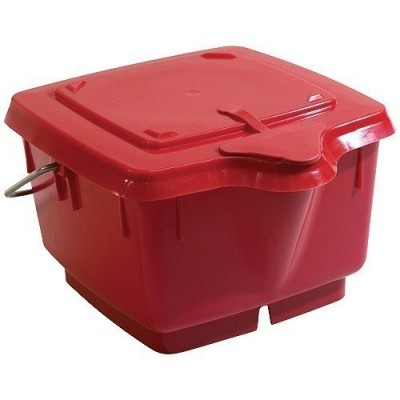 Seau 8l carré rouge avec couvercle étanche