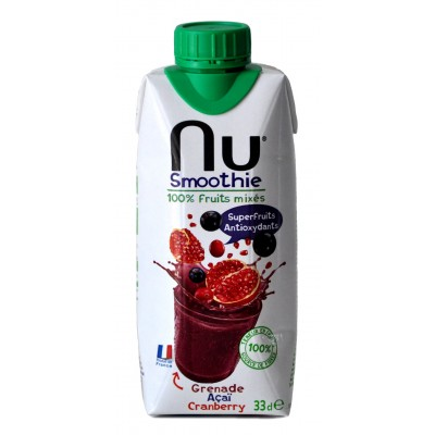NU SMOOTHIES GRENADE /ACAI/CRAMBERRY 100% FRUITS MIXES  25CL*12 AMBIA