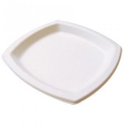 Assiette pulpe blanche carrée 17 x 17 bio