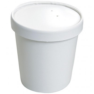 Pot à soupe en carton blanc 36 cl avec couvercle