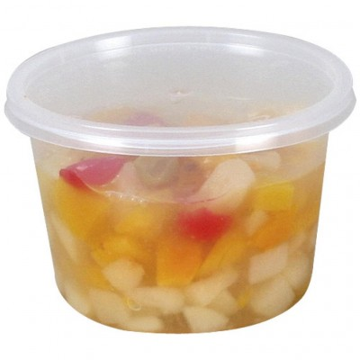 Pot rond en plastique avec couvercle 525 ml