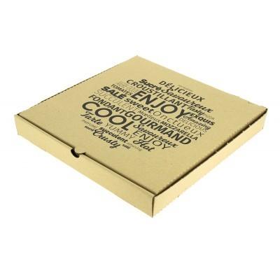 Boîte pizza 26 cm supérieur, kraft hauteur 4 cm.