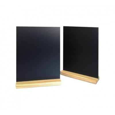 PORTE MENU DE TABLE PIN NATUREL 21x6.5x2.4cm + ARDOISE A4