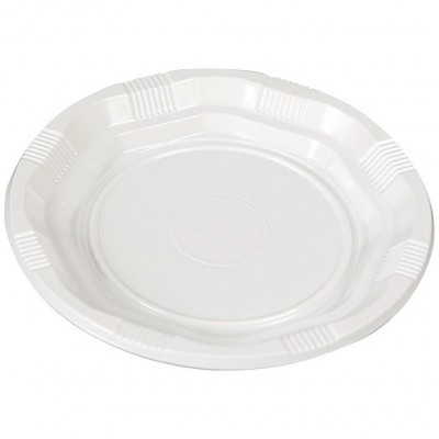 Assiette plastique ronde blanche