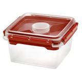 Boîte Bento PP 2,25L rouge réutilisable 2 compartiments + pot a sauce